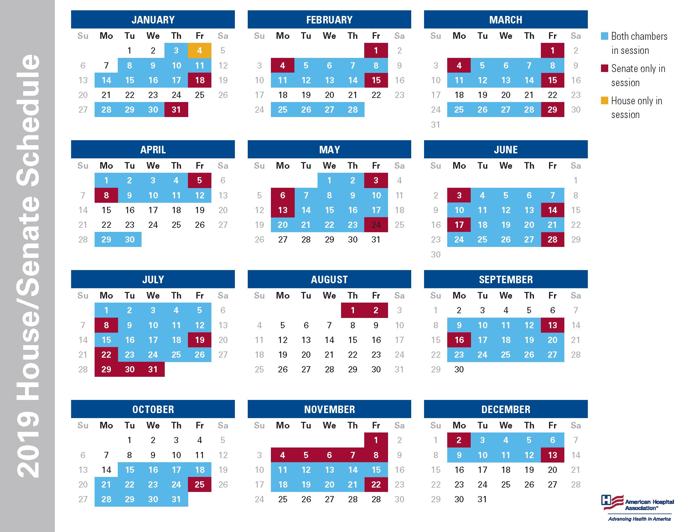 2022 Congressional Calendar.2019 House Senate Schedule Aonl